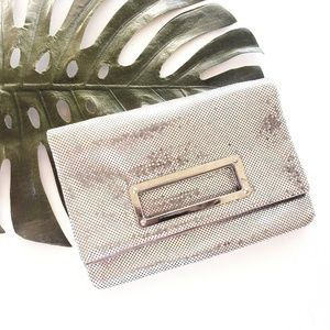 EXPRESS Silver Metal Mesh Fold-Over Clutch